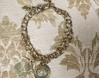 Vintage gold fill charm bracelet/ Eton Gold Fill braclet
