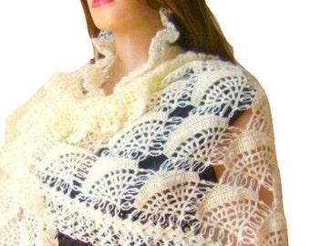 ON SALE Bridal Wrap Cream Wedding Sparkle Shawl, Metallic Mohair Crochet Bridal Shawl, Wrap with Swarovski Beads, Express Delivery