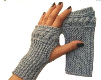 ON SALE Cable Knit Fingerless Mitten, Blue, Wool, Fingerless Glove, Wool Mitt, Handknit, Wrist Warmers