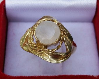 Goldring mit mondstein  Mondstein gold ring | Etsy