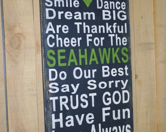 Family Rules Sign Seahawks Sign Distressed Wood Sign Wood Wall Art Wedding Gift Bridal Shower Gift Housewarming Gift Sports Gift Handmade