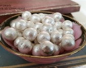 10mm Cotton pearl beads   Qty: 10, White  vintage style   newly manufactured   compressed cotton pearls  Japanese quality, 10 pack of beads