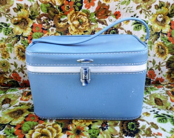 Blue Suitcase, Train Case, Luggage, Make Up Case, Featherlite, Vintage Suitcase, Carry On Luggage, Travel Accessories, Old Suitcase