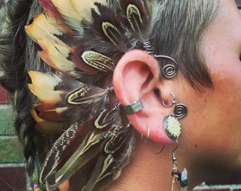 Natural Pheasant Feather Ear Cuff, feather earrings, ear cuff, brown feather earrings, festival, tribal earrings, boho, fairy, gypsy