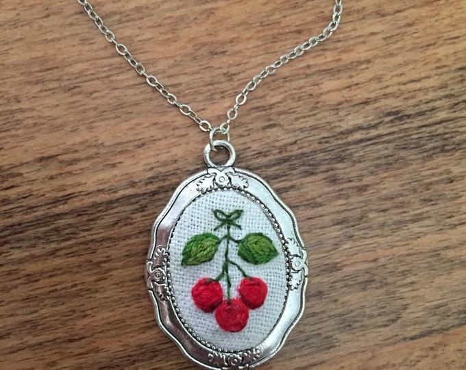 Cherry Pendant - hand embroidered, cherries, summer,