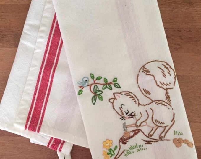 Squirrel Embroidered Dishtowel - vintage kitchen decor, hand embroidered