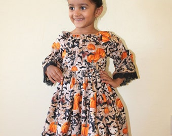 Girls Halloween /Thanksgiving dress, toddler Halloween dress