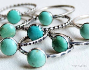 Turquoise & Sterling Silver Stacking Ring | Gypsy Stax Collection | Genuine Stone, Unique Band Styles and Finishes, Custom // Made to Order