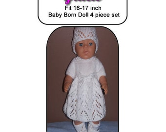 Baby Born Knitting Pattern, GRACIE fits 16 to 17 inch dolls (pattern only)
