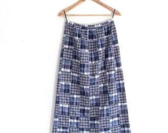 Long 90s patchwork skirt // 1990s hippie skirt // blue square cotton skirt // 90s maxi skirt // boho chic // 90s revial