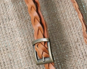 Handmade cognac leather braided belt for woman