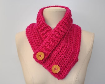 Dark pink crocheted cowl with 2 wooden button fastening