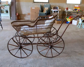 Antique Wicker Baby Carriage - Civil War Era - ca 1860