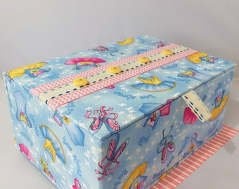 Storage Box for Baby Girl Shower - Birth Memory Box - Cute 7 In. Ballet Theme Hand Decorated Box with Embroidery, Buttons - Flip Top Opening