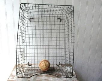 Vintage wire mesh desk basket organizer in box inbox file bin magazine basket Industrial Mid Century Office