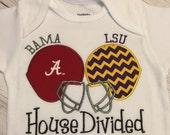 House Divded Football Team Helmets Choose Your teams Tee Onesie Baby or Adults