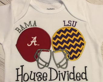 House Divded Football Team Helmets Choose Your teams Tee Onesie Baby Or adults