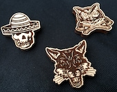 Set of 3 Wooden Brooches