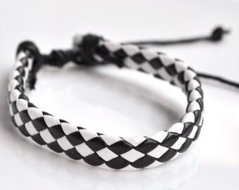 Bracelet black leather cord tiles