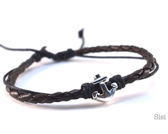 Brown leather strap silver anchor