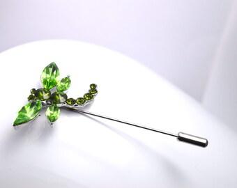 Green dragonfly brooch pin rhinestone