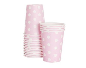CLEARANCE! Marshmallow Pink Polka Dot Party Cups - Set of 12