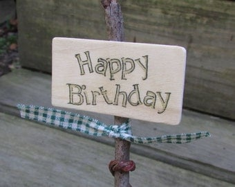 Rustic Twig Birthday Cake Topper, Rustic Party Decor, Rustic Party Sign, Rustic Happy Birthday Sign, Rustic Birthday, Twig Cake Topper