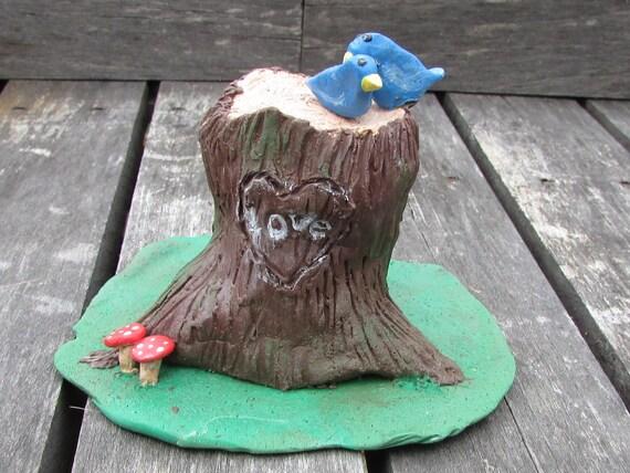 Tree Stump Wedding Cake Topper, Tree Stump with Birds Cake Topper ...