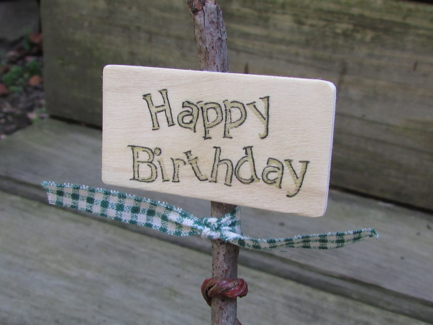 Rustic Birthday Twig Cake Topper Decor