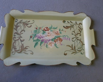 Hand painted vintage tole ware tray - lime green with scalloped edge
