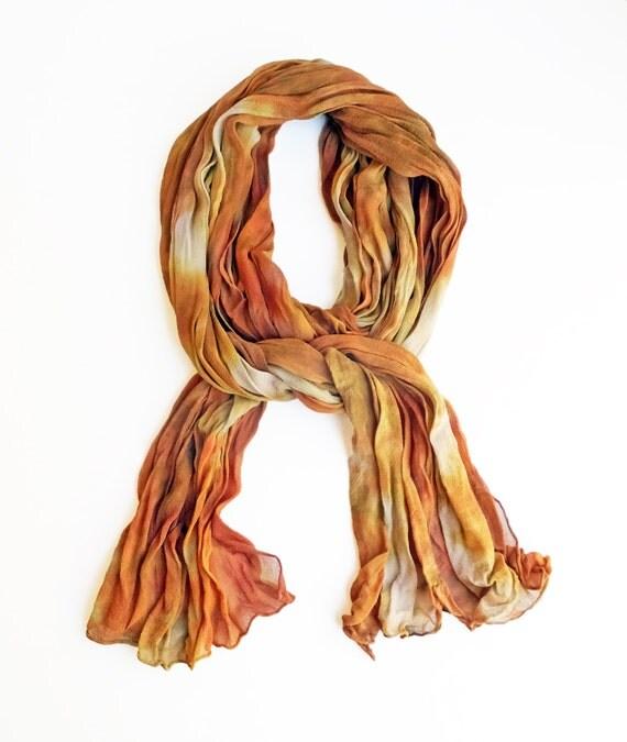 "Earth tone crinkle chiffon scarf - crinkle scarf - silk chiffon - orange, rust, gold, tan, taupe - hand dyed - LARGE -  17""x74"" - Autumn"