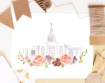 LDS Temple Watercolor (Idaho Falls), Idaho Falls Temple