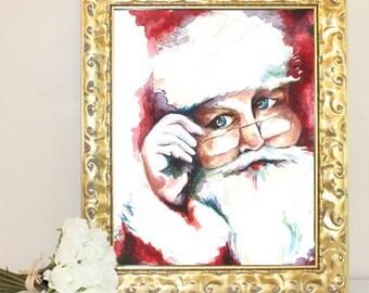 Christmas Santa Watercolor Print
