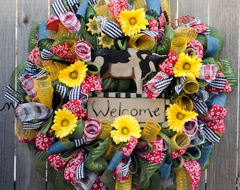 Country farm wreath XL handmade