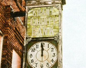 Rustic Art, clock, bank clock, vintage clock, clock face, green, black, brick red, Oklahoma tourism, Fine Art Photography, Rustic Home Decor