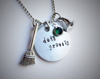Defy Gravity Hand-stamped Charm Necklace