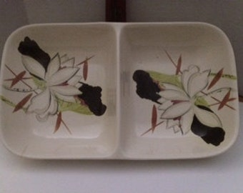 1940's Red Wing Dinnerware-Lotus-Gray-Divided Serving Dish