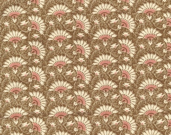 RJR Chocolate & Bubble Gum Cream Brown Pink Fans Civil War Fabric 2715-002 BTY