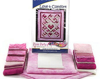 Love and Comfort Breast Cancer Pixie Party PRECUT Fabric Complete Quilt Kit 61 x 75 Easy