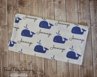 Personalized whale baby name swaddle blanket: baby and toddler personalized name newborn hospital gift baby shower gift