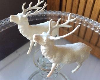Two vintage celluloid reindeer