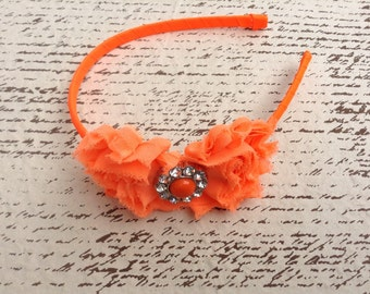 Neon orange shabby chic flower hard headband