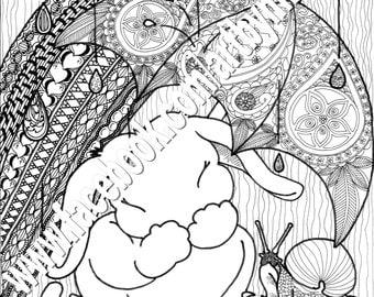 Bunny Nursery Rhyme Coloring Series, Rain, Rain, Go Away