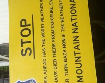 "Mt Washington - White Mountains Warning Sign - ""Worst Weather in America"""