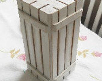 Vintage, Wooden Knife Blocks, Distressed White, White Wash, Hand Painted,  Kitchen