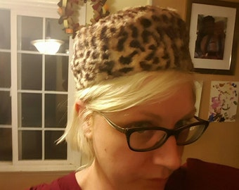 Leopard print pillbox hat