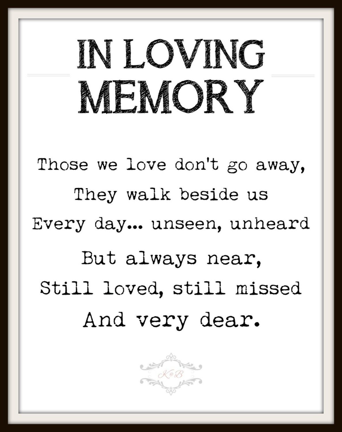 This is a picture of Adorable In Loving Memory Free Printable