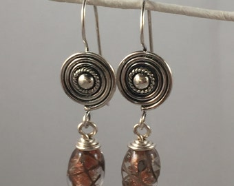 Gold and Gray Lampwork Earings with Sun Burst Handmade