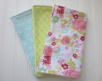 Baby Girl Burp Cloth Set, Set of 3 Burp Cloths: Floral Burp Cloth, Blue Burp Cloth and Green Lattice Burp Cloth