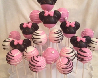 24 Minnie Mouse inspired cake pop Assortment, Red Minnie or Pink Minnie Mouse.
